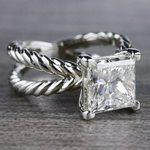 3 Carat Princess Cut Diamond Ring - Split Shank Design - small angle 3
