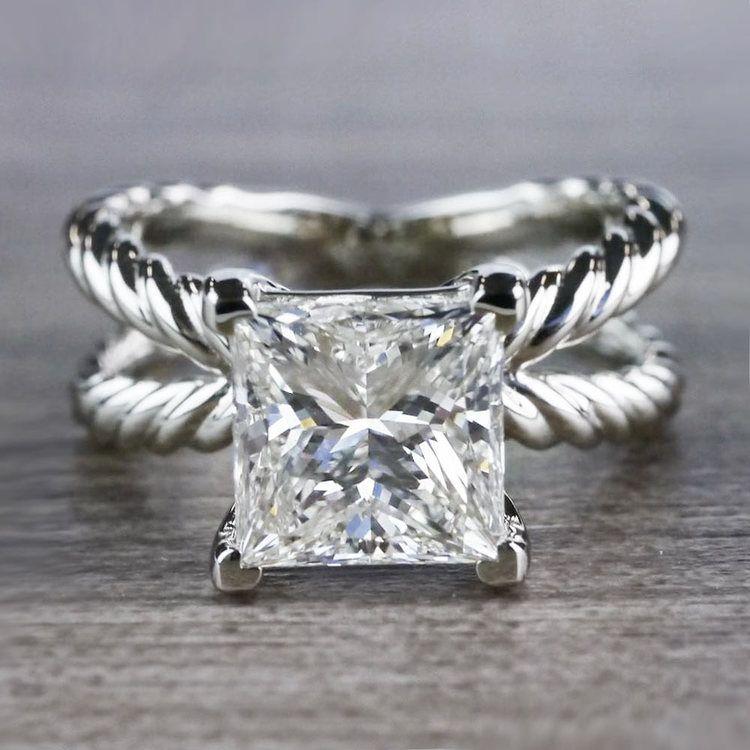 3 Carat Princess Cut Diamond Ring - Split Shank Design