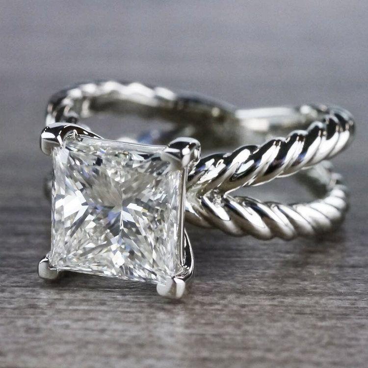 3 Carat Princess Cut Diamond Ring - Split Shank Design angle 2
