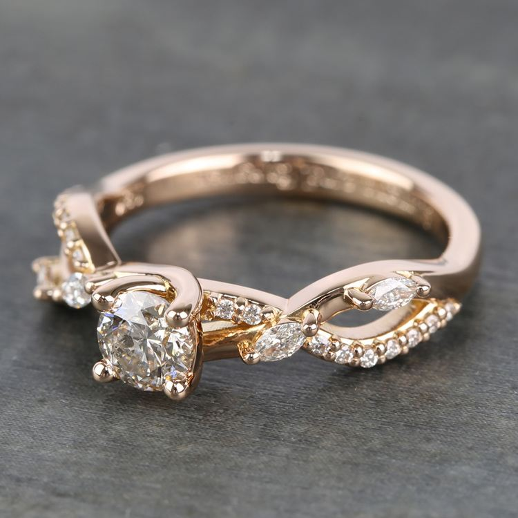 Rose Gold Ivy Half Carat Round Diamond Engagement Ring angle 2