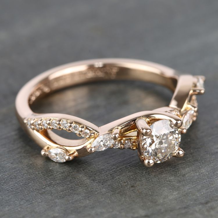 Rose Gold Ivy Half Carat Round Diamond Engagement Ring angle 3