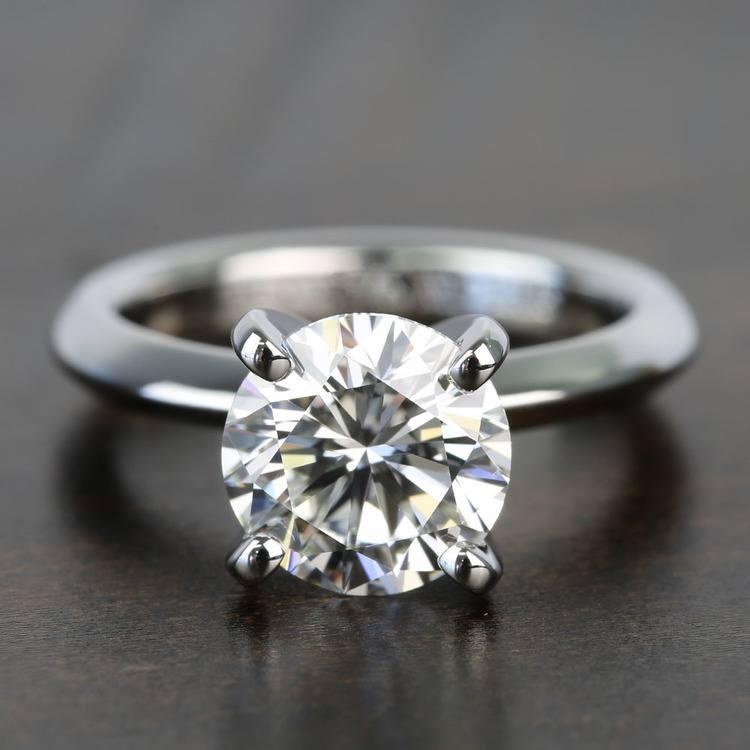 Knife Edge 1 Carat Round Solitaire Diamonds Engagement Ring
