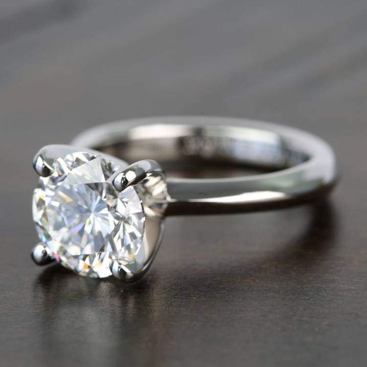 Knife Edge 1 Carat Round Solitaire Diamonds Engagement Ring angle 2