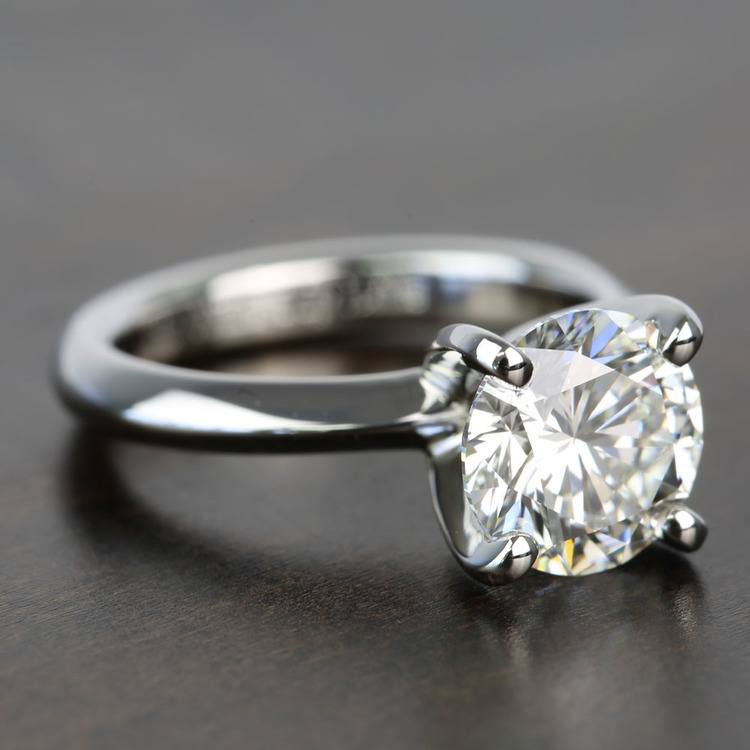 Knife Edge 1 Carat Round Solitaire Diamonds Engagement Ring angle 3