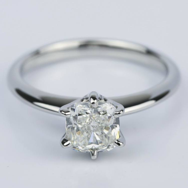 Knife-Edge Cushion Diamond Solitaire Engagement Ring (1.81 ct.)