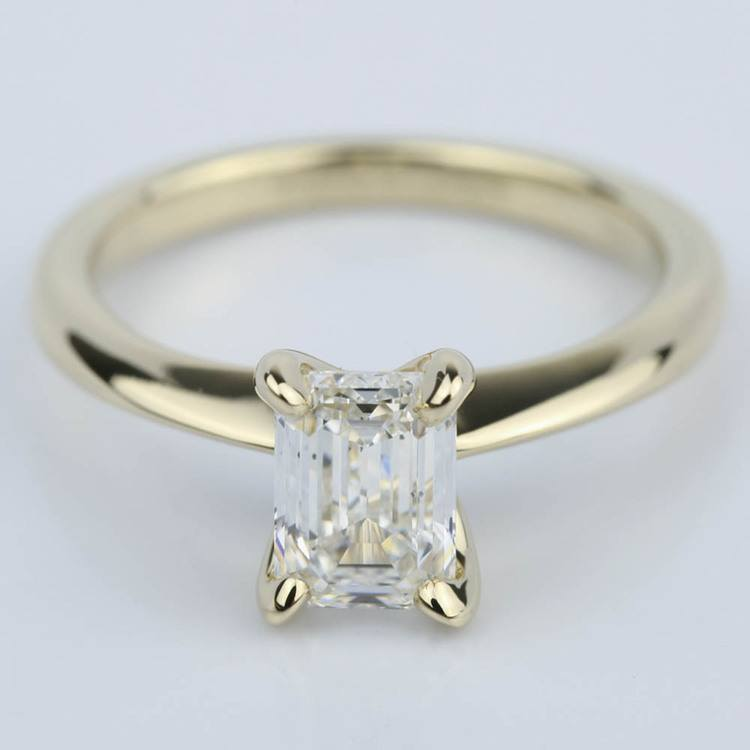 Knife Edge Emerald Cut Diamond Solitaire Ring (1 Carat)