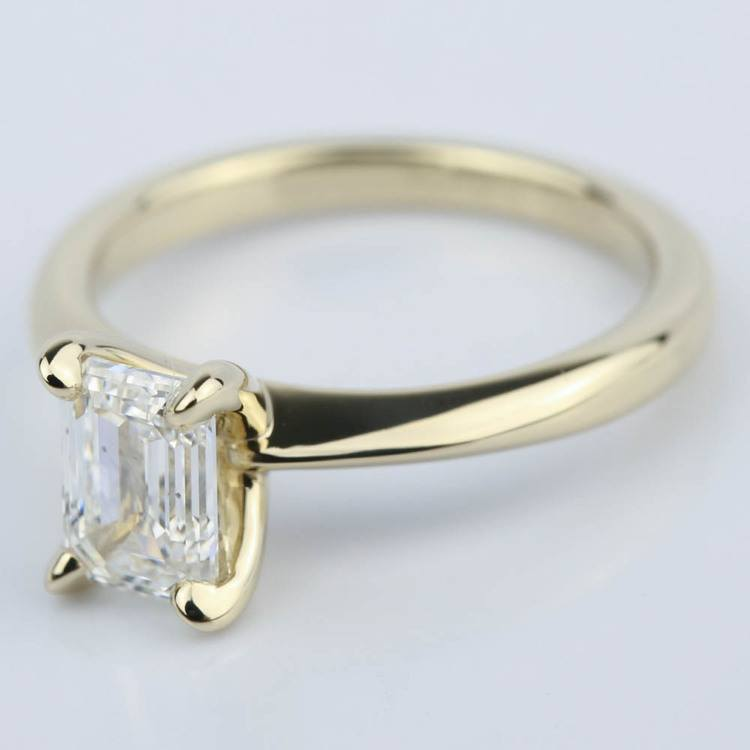 Knife Edge Emerald Cut Diamond Solitaire Ring (1 Carat) angle 2
