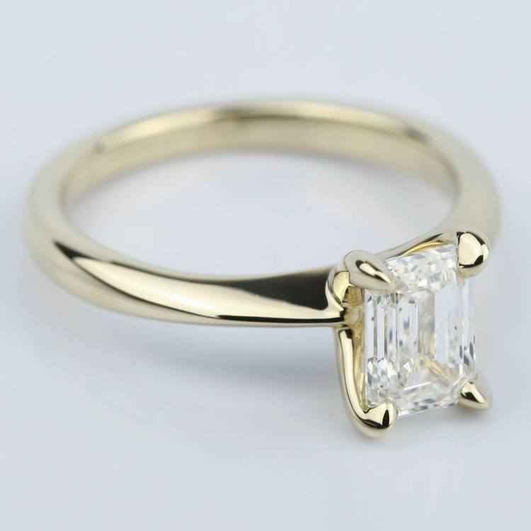 Knife Edge Emerald Cut Diamond Solitaire Ring (1 Carat) angle 3