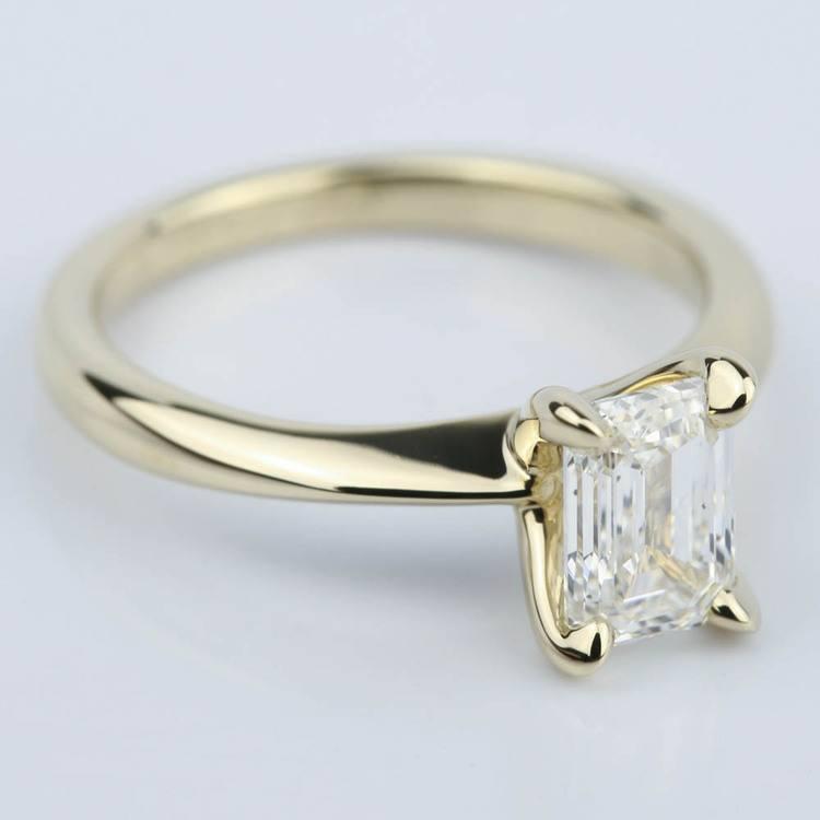 Knife Edge Emerald Cut Diamond Solitaire Ring 1 Carat