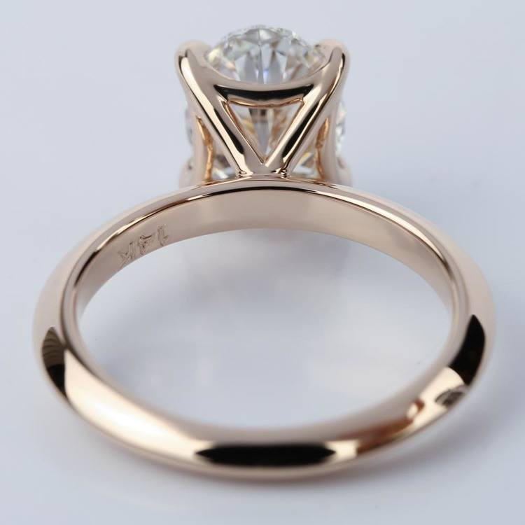 Knife Edge Rose Gold Solitaire Ring with Oval Cut Diamond angle 4