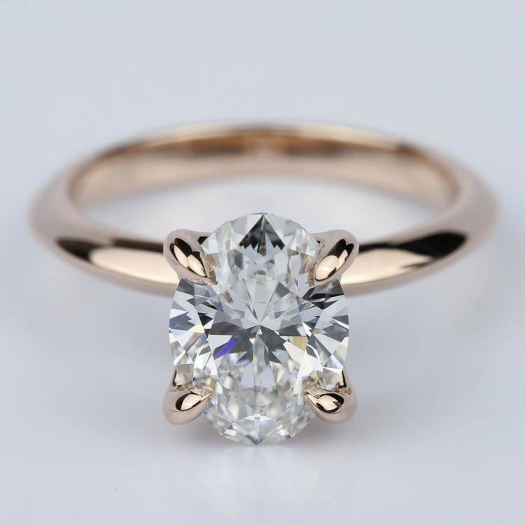 Knife Edge Rose Gold Solitaire Ring with Oval Cut Diamond
