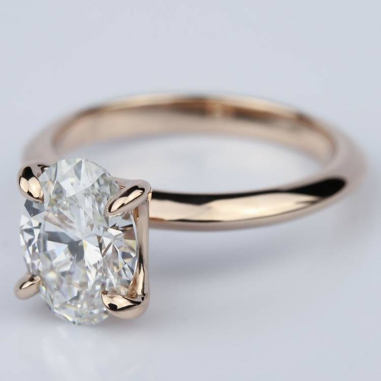 Knife Edge Rose Gold Solitaire Ring with Oval Cut Diamond angle 2