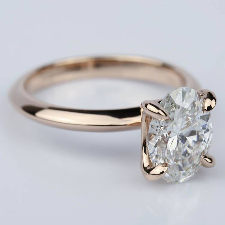 Knife Edge Rose Gold Solitaire Ring with Oval Cut Diamond angle 3
