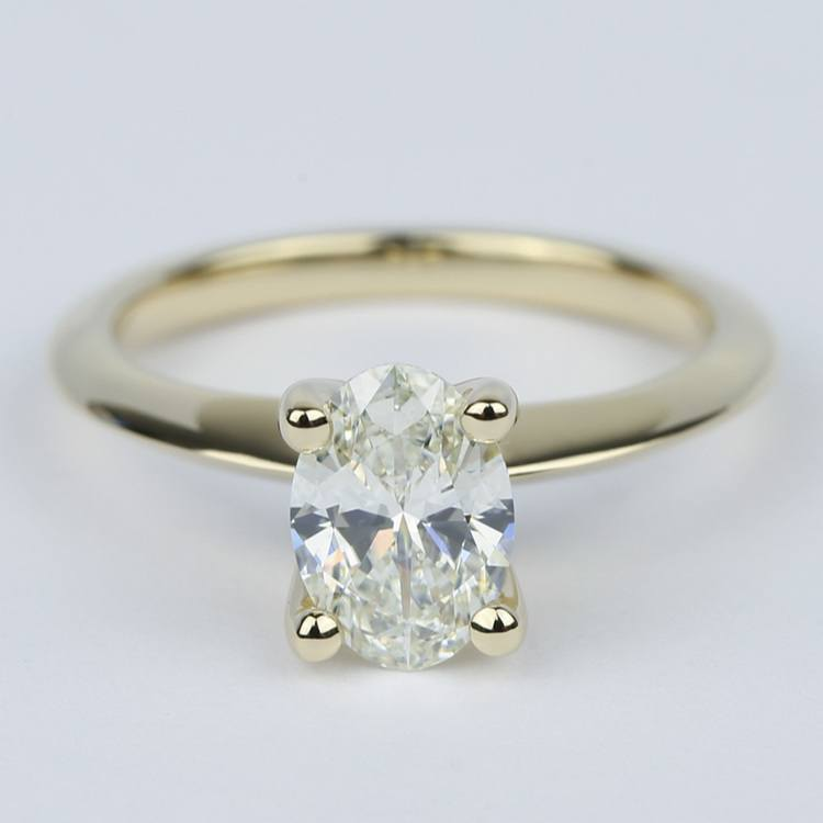 1 Carat Oval Diamond Set In Knife-Edge Engagement Ring