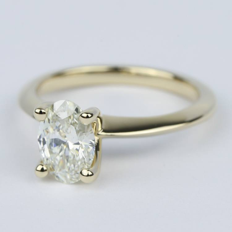 1 Carat Oval Diamond Set In Knife-Edge Engagement Ring angle 2