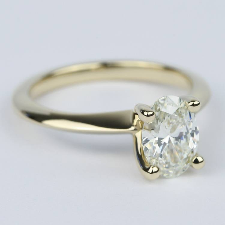1 Carat Oval Diamond Set In Knife-Edge Engagement Ring angle 3