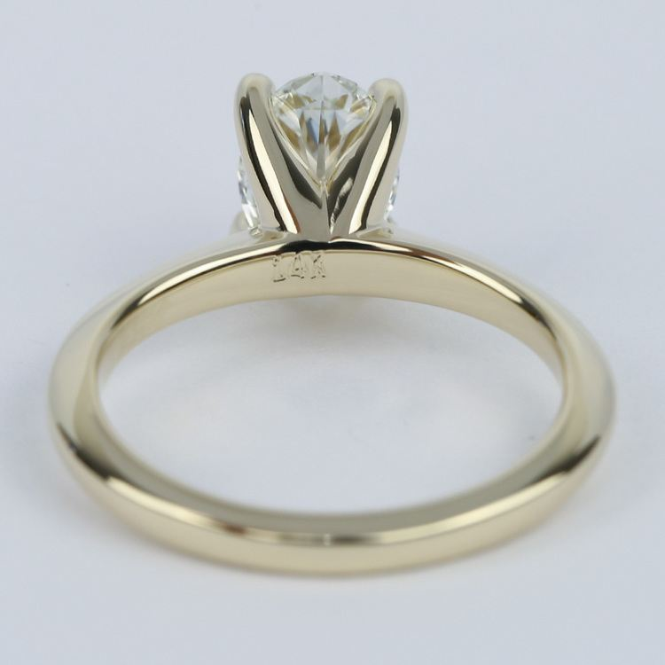 1 Carat Oval Diamond Set In Knife-Edge Engagement Ring angle 4