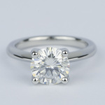 Round Diamond Engagement Ring with Knife-Edge Band (2 Carat) - small