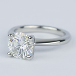 Round Diamond Engagement Ring with Knife-Edge Band (2 Carat) - small angle 2
