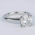 Round Diamond Engagement Ring with Knife-Edge Band (2 Carat) - small angle 3