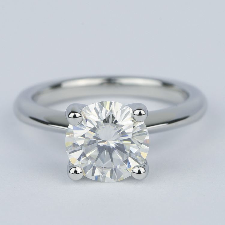 Round Diamond Engagement Ring with Knife-Edge Band (2 Carat)
