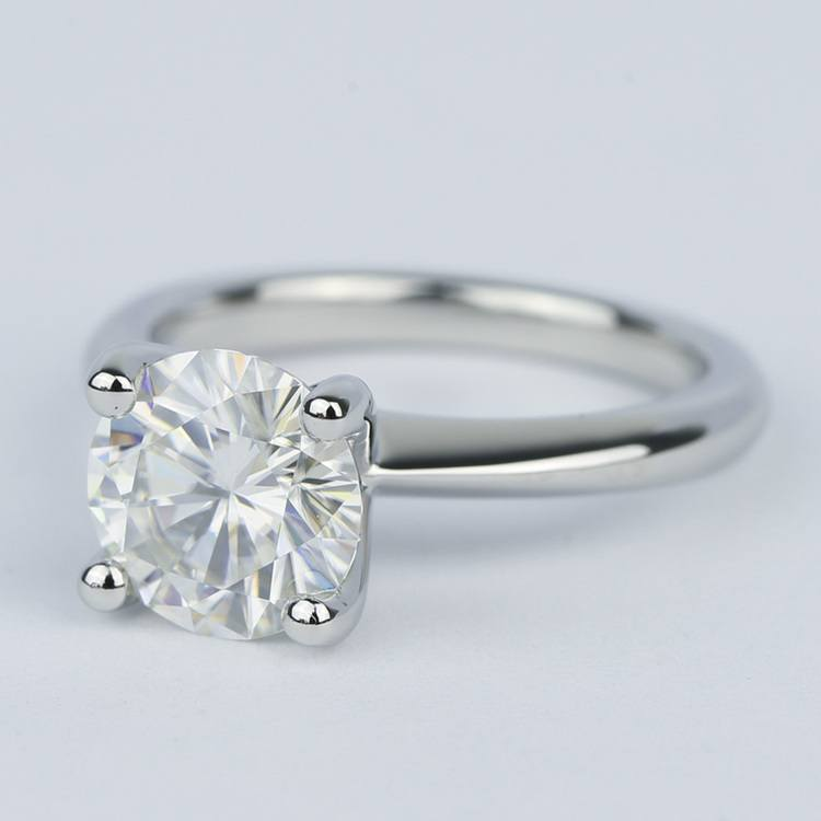 Round Diamond Engagement Ring with Knife-Edge Band (2 Carat) angle 2