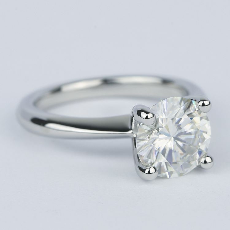 Round Diamond Engagement Ring with Knife-Edge Band (2 Carat) angle 3