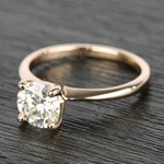 Knife Edge Round Diamond Solitaire Ring in Rose Gold (1.50 Carat) - small angle 2