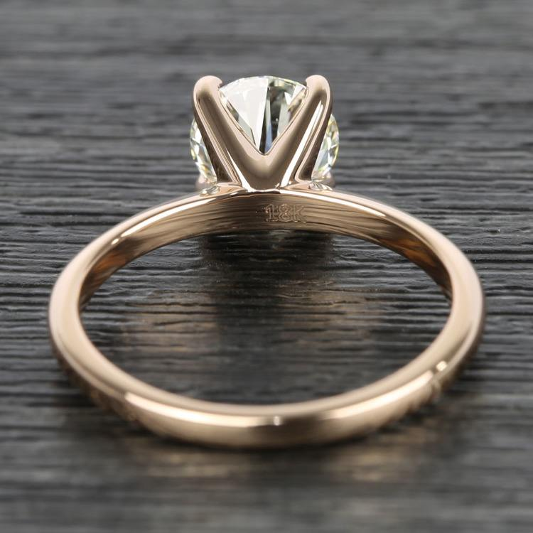 Knife Edge Round Diamond Solitaire Ring in Rose Gold (1.50 Carat) angle 4