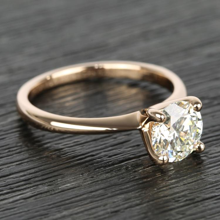 Knife Edge Round Diamond Solitaire Ring in Rose Gold (1.50 Carat) angle 3