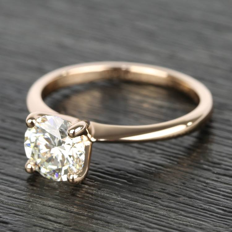 Knife Edge Round Diamond Solitaire Ring in Rose Gold (1.50 Carat) angle 2