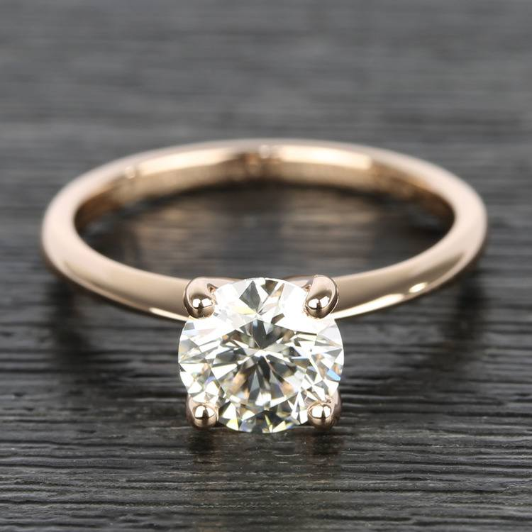 Knife Edge Round Diamond Solitaire Ring in Rose Gold (1.50 Carat)