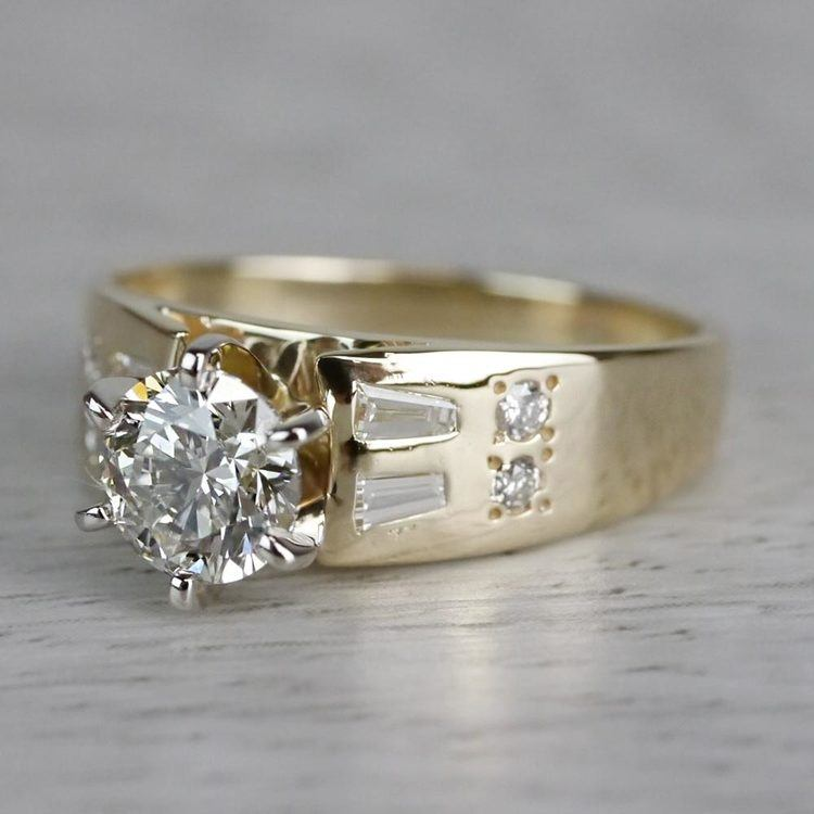 Lavish Round Cut Diamond Vintage Gold Engagement Ring angle 2