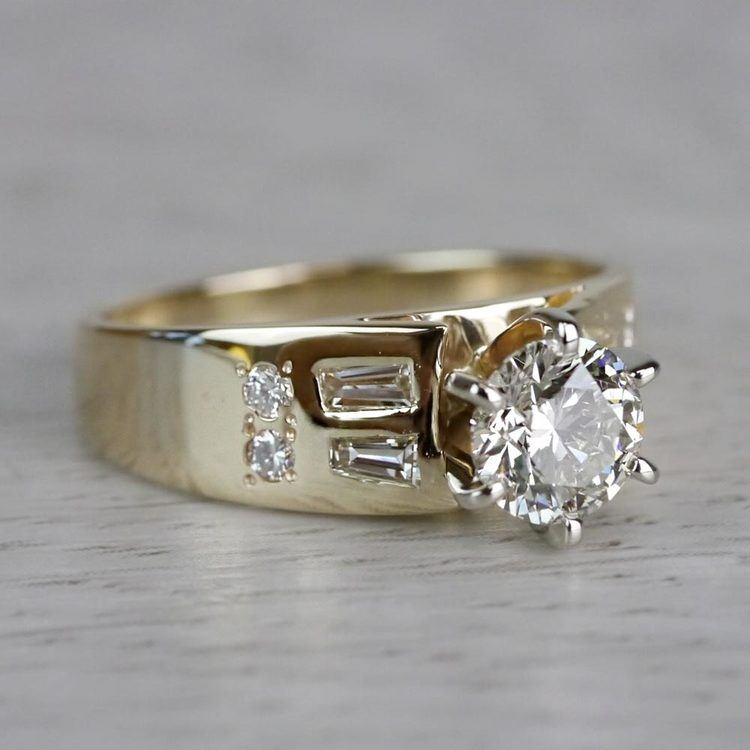 Lavish Round Cut Diamond Vintage Gold Engagement Ring angle 3