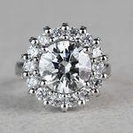 Luxurious 3.42 Carat Diamond Floral Halo Ring - small