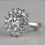 Luxurious 3.42 Carat Diamond Floral Halo Ring - small angle 2