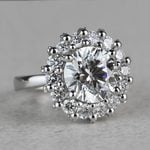 Luxurious 3.42 Carat Diamond Floral Halo Ring - small angle 3