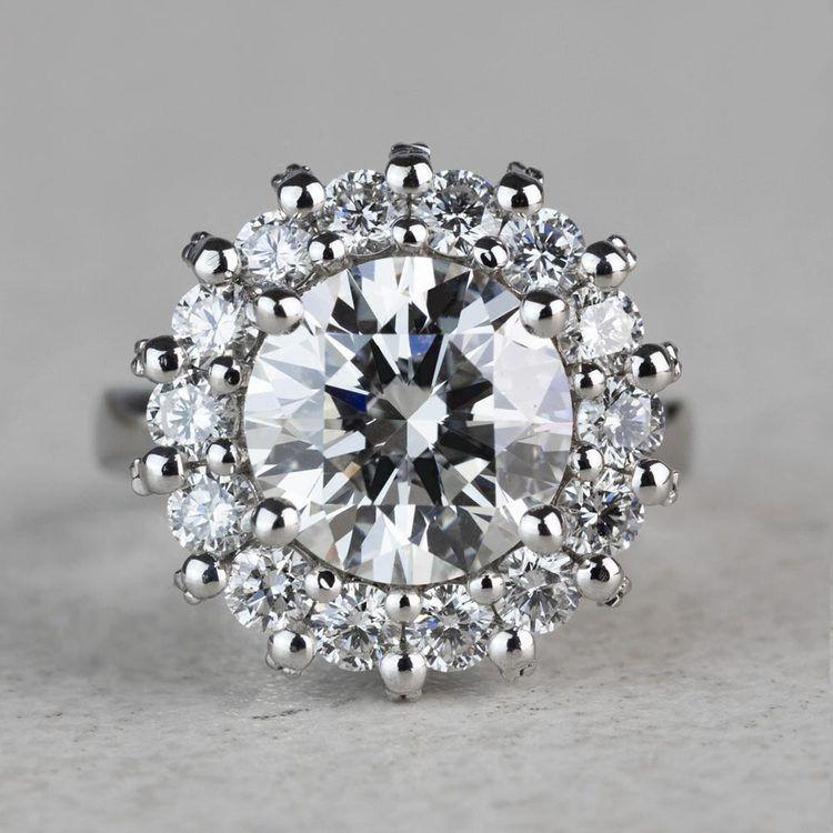 Luxurious 3.42 Carat Diamond Floral Halo Ring