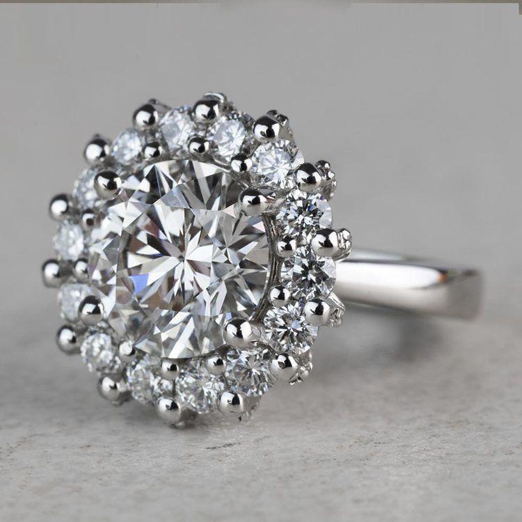 Luxurious 3.42 Carat Diamond Floral Halo Ring angle 2