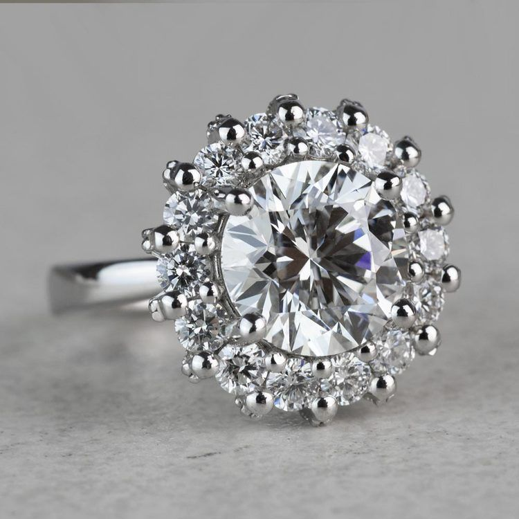 Luxurious 3.42 Carat Diamond Floral Halo Ring angle 3