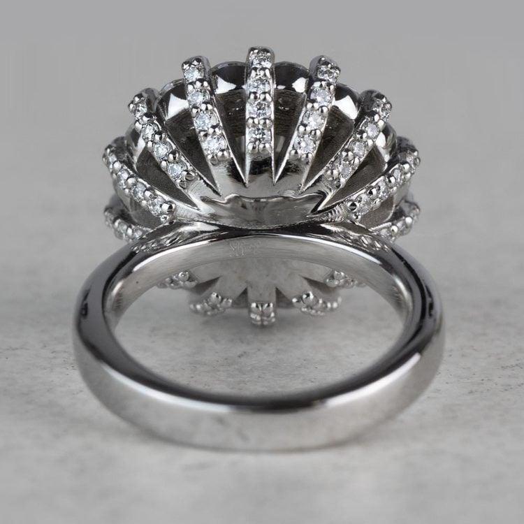 Luxurious 3.42 Carat Diamond Floral Halo Ring angle 4
