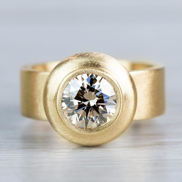 Luxurious Light Brown Bezel Set Diamond Ring
