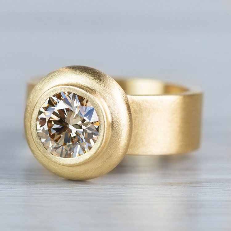 Luxurious Light Brown Bezel Set Diamond Ring  angle 2