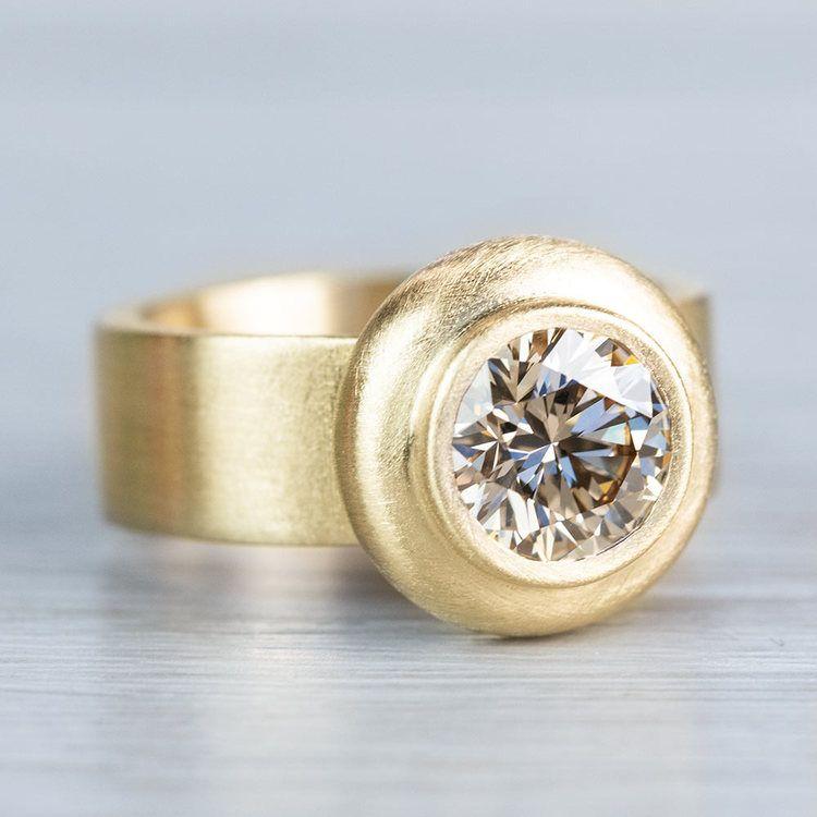 Luxurious Light Brown Bezel Set Diamond Ring  angle 3