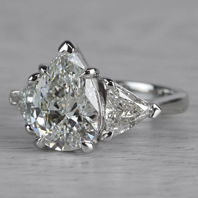 Luxurious Pear Shaped 3 Carat Diamond Ring angle 2
