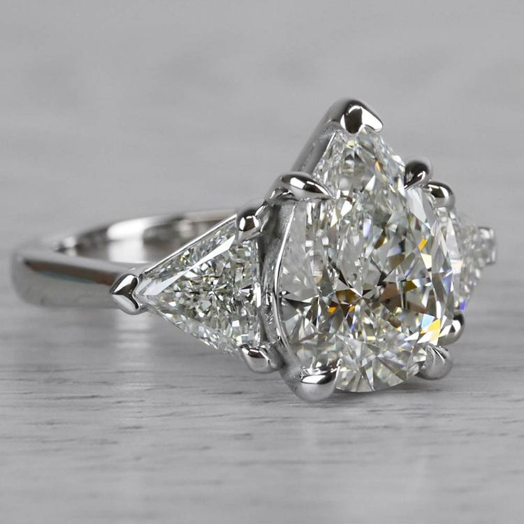 Luxurious Pear Shaped 3 Carat Diamond Ring angle 3
