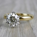 Luxurious Round Cut Diamond Solitaire Engagement Ring - small angle 2