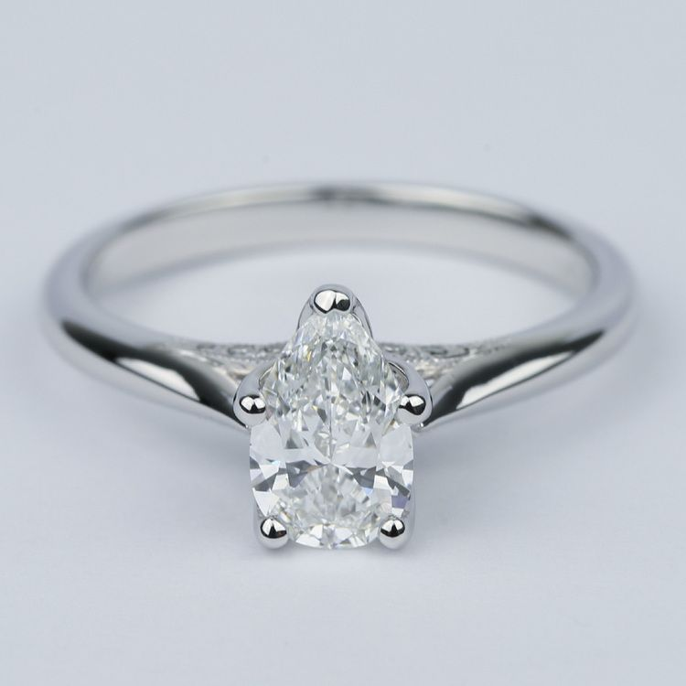 Designer Solitaire Pear Diamond Engagement Ring (0.78 ct.)