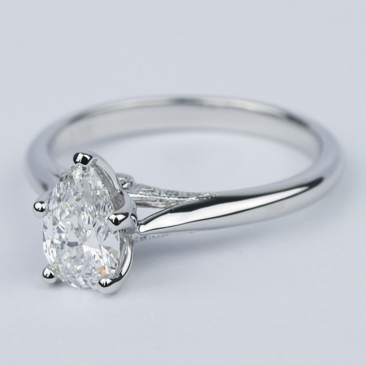 Designer Solitaire Pear Diamond Engagement Ring (0.78 ct.) angle 2