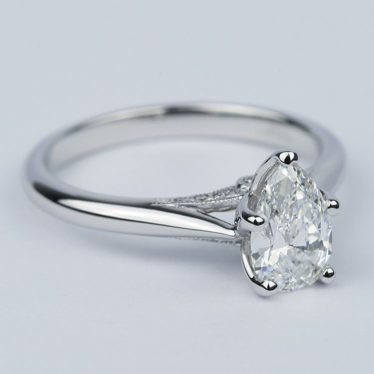 Designer Solitaire Pear Diamond Engagement Ring (0.78 ct.) angle 3